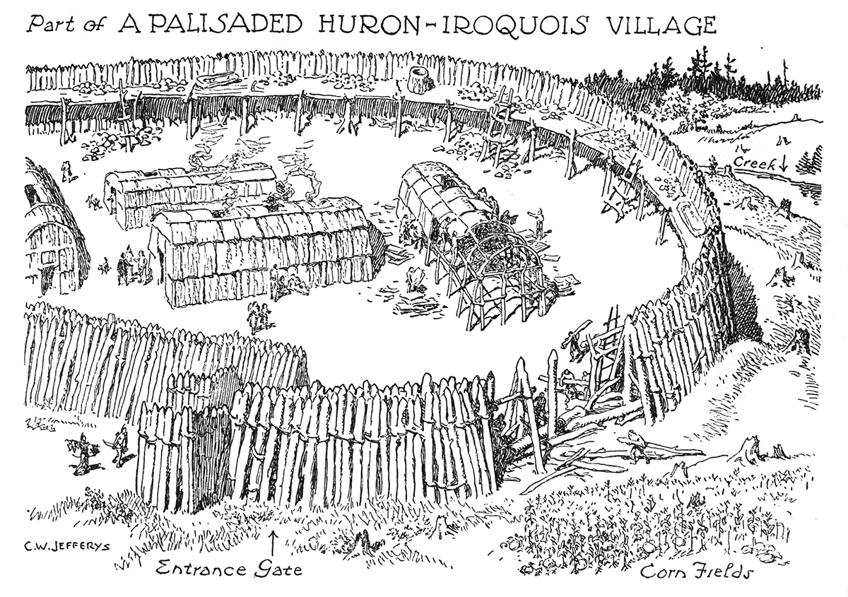Part Of A Palisaded Huron Iroquois Village