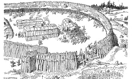 {Part of a Palisaded Huron-Iroquois Village}
