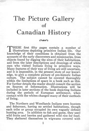 {The Picture Gallery of Canadian History Vol. I (Part 1 Beginning Notes)}