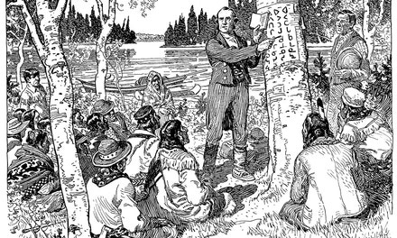 {Rev. James Evans Teaching Indians His System of Cree Syllabic Writing}