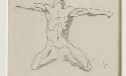 12 Small Sketches - Man Kneeling Arms Outstretched