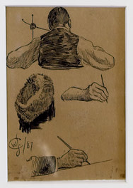 Back Torso, Man, Fur Hat, Two Hands With Pen