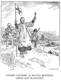Father Lacombe in Battle Between Crees and Blackfeet