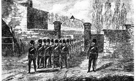 Imperial Troops Leaving Their Barracks at Quebec,1870