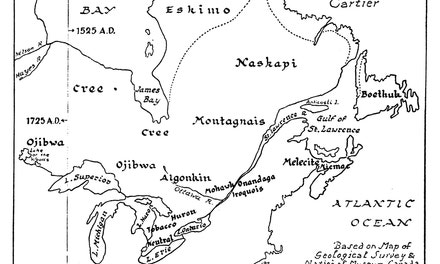 Map Showing Location of Eastern Indian Tribes