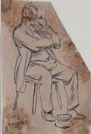 Man Seated with Spittoon