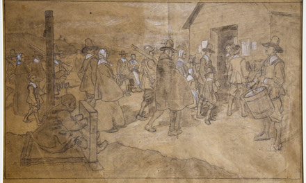 Sketch of a Puritan Village Scene