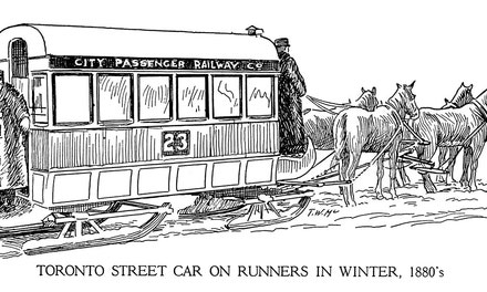 Toronto Street Car on Runners in Winter
