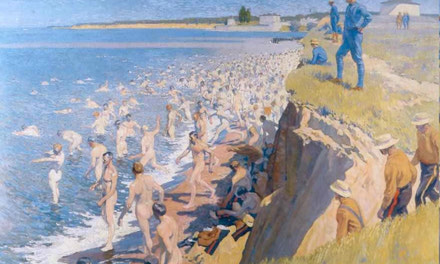 Polish Army Bathing at Niagara Camp